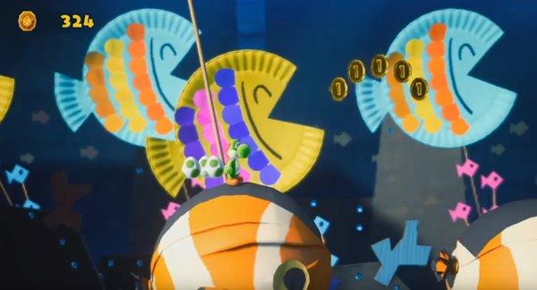 【ヨッシークラフトワールド】おさかないっぱい 水の中オモテ