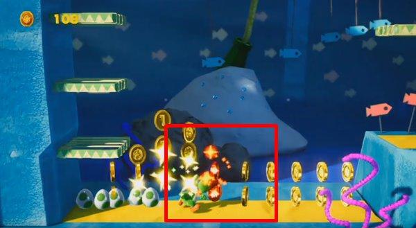 おさかないっぱい 水の中オモテ:3か所目の赤コイン